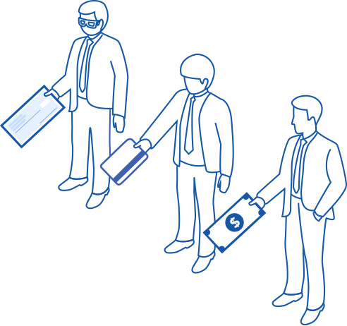 Illustration of people holding different payment methods