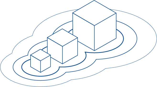 Illustration of three boxes, each bigger than the last, symbolizing growth