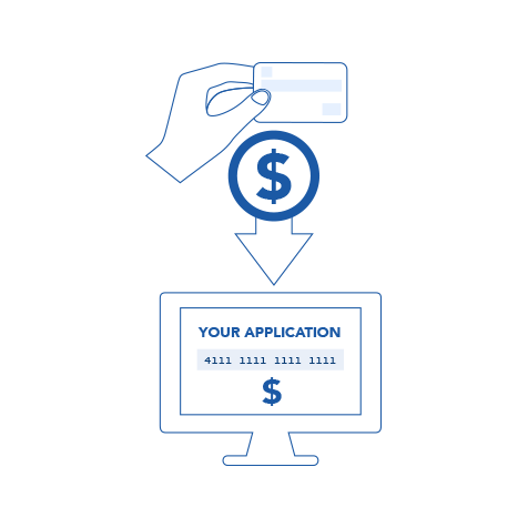 Illustration of software taking a payment