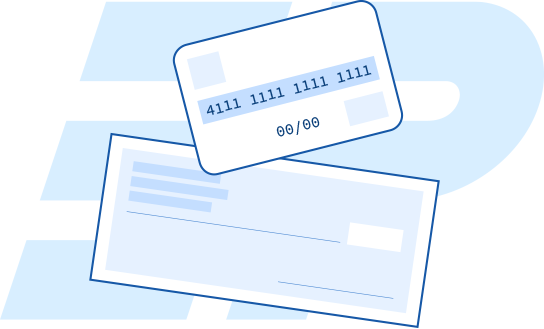 Illustration of a check and a credit card