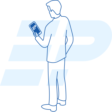 Illustration of business owner accessing EdgePay with their mobile phone