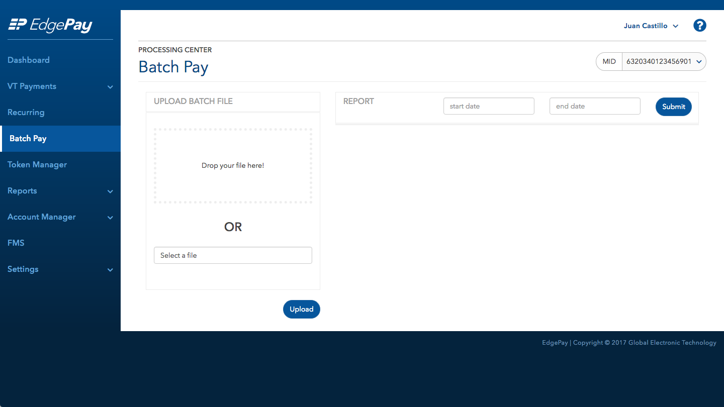 Screenshot of the BatchPay Upload screen in EdgePay